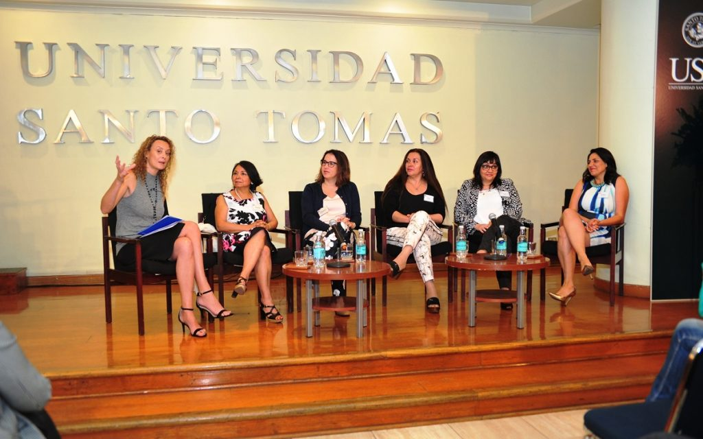 Panel Conversación Andrea Lobos (moderadora) Juanita Galaz, Katharina Jenny, Olga Alfaro, Ma. Angélica González y Jocelyn Lizana
